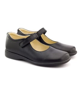 Boni College - Black Leather School Shoes for Girls