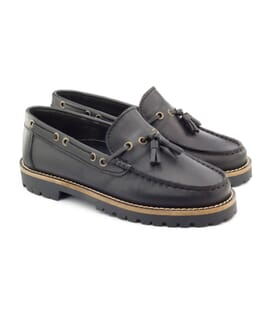 Boni Floch, boys black leather shoes