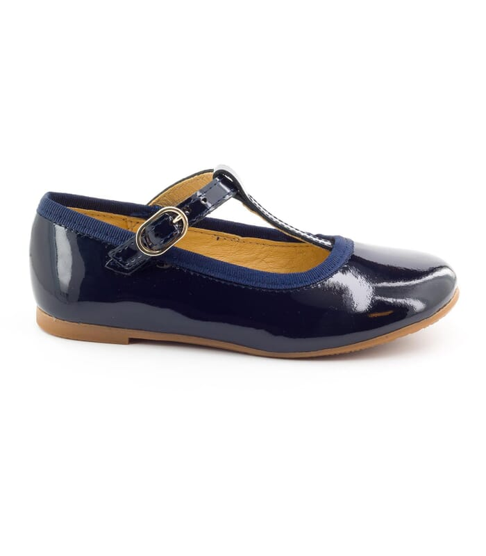 153e818a5 Pretty navy blue patent girls T bar shoes - Boni Aurore